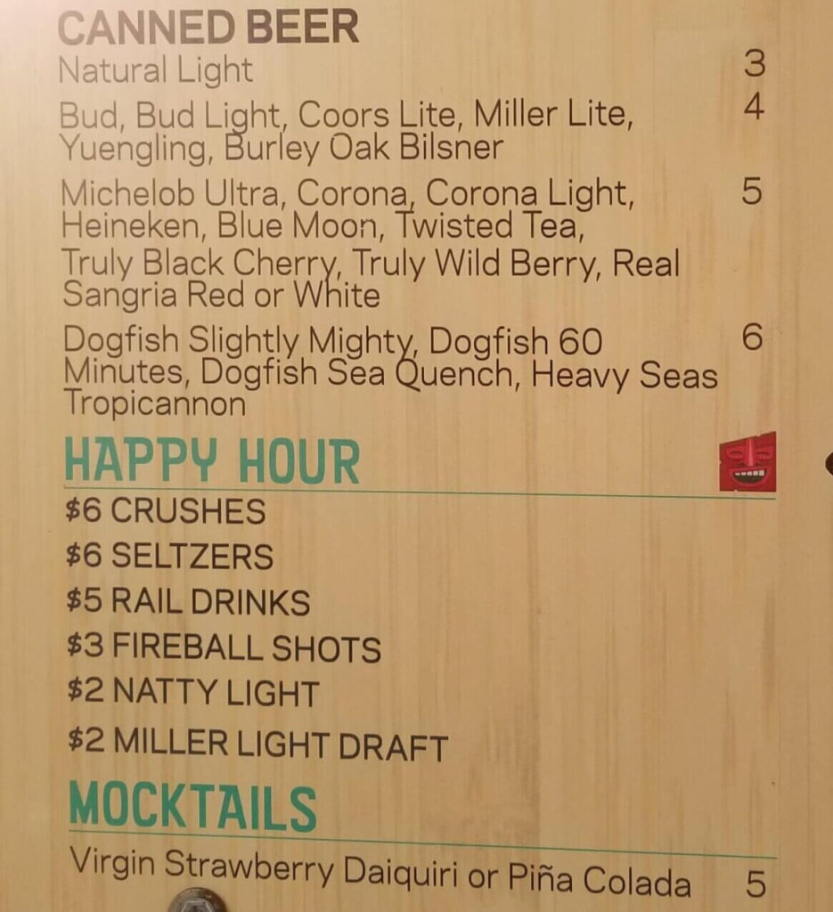 Ocean City Aloft Liquid Therapy Bar Menu - Beer and Happy Hour Prices