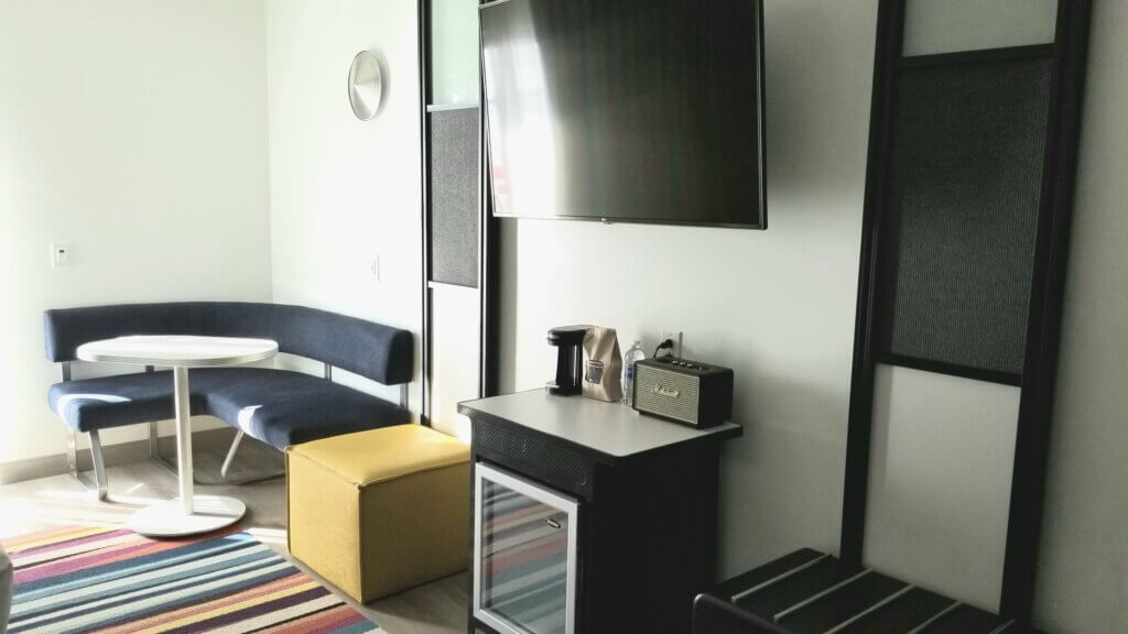 Ocean City Aloft Room - Dining Table and Refrigerator